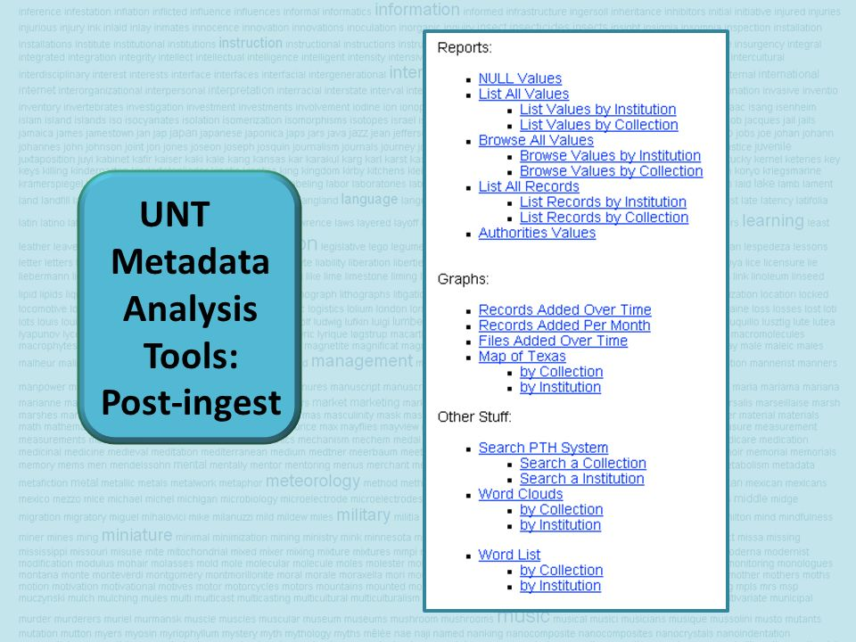 UNT Metadata Analysis Tools: Post-ingest