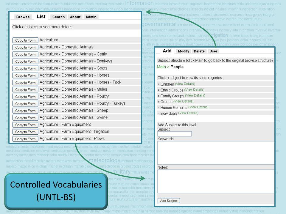 Controlled Vocabularies (UNTL-BS)