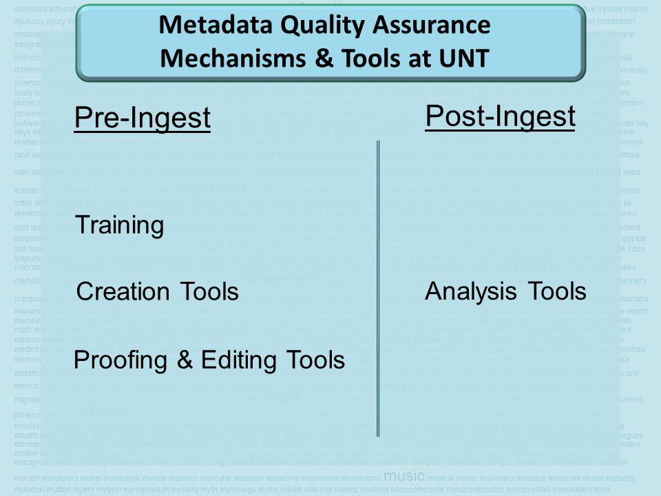Metadata Quality Assurance Mechanisms & Tools at UNT Pre-Ingest Post-Ingest Training Creation Tools Proofing & Editing Tools Analysis Tools