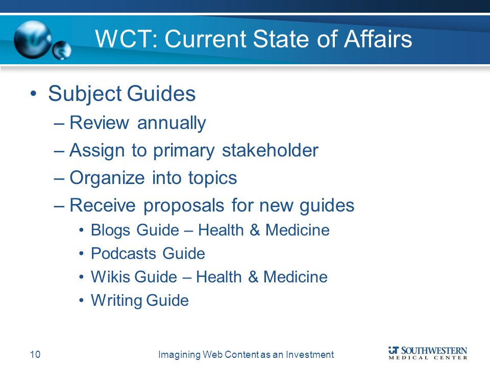 WCT: Current State of Affairs Subject Guides –Review annually –Assign to primary stakeholder –Organize into topics –Receive proposals for new guides Blogs Guide – Health & Medicine Podcasts Guide Wikis Guide – Health & Medicine Writing Guide Imagining Web Content as an Investment10