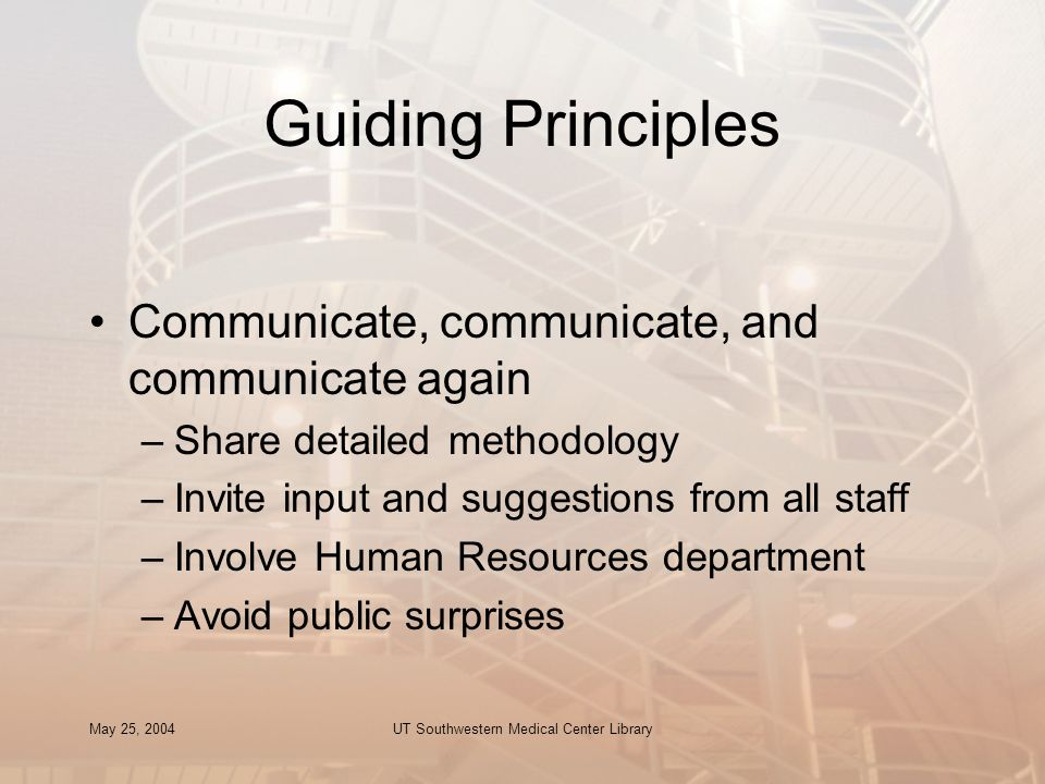 May 25, 2004UT Southwestern Medical Center Library Guiding Principles Communicate, communicate, and communicate again –Share detailed methodology –Inv