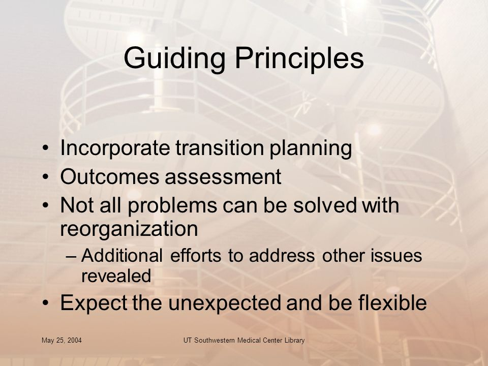 May 25, 2004UT Southwestern Medical Center Library Guiding Principles Incorporate transition planning Outcomes assessment Not all problems can be solv
