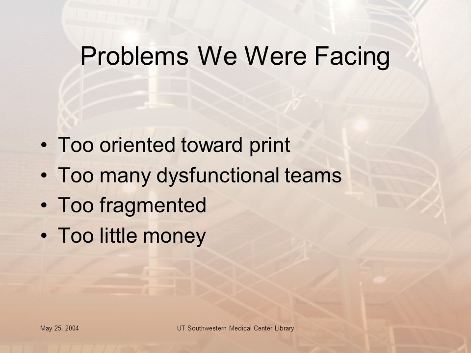 May 25, 2004UT Southwestern Medical Center Library Problems We Were Facing Too oriented toward print Too many dysfunctional teams Too fragmented Too l