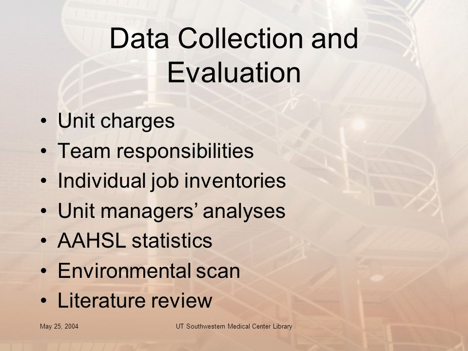 May 25, 2004UT Southwestern Medical Center Library Data Collection and Evaluation Unit charges Team responsibilities Individual job inventories Unit m