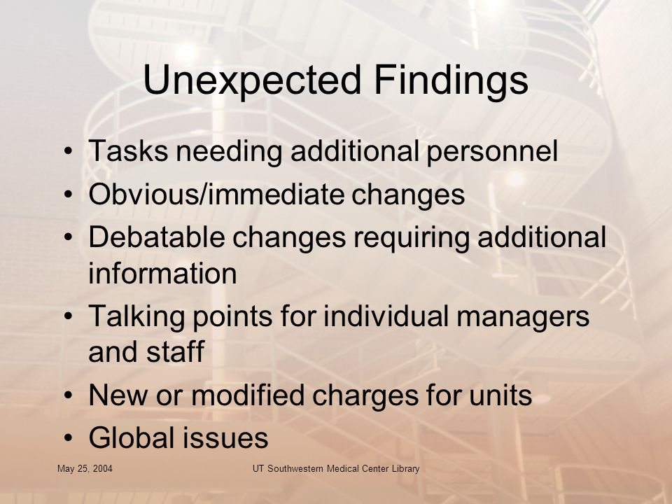 May 25, 2004UT Southwestern Medical Center Library Unexpected Findings Tasks needing additional personnel Obvious/immediate changes Debatable changes