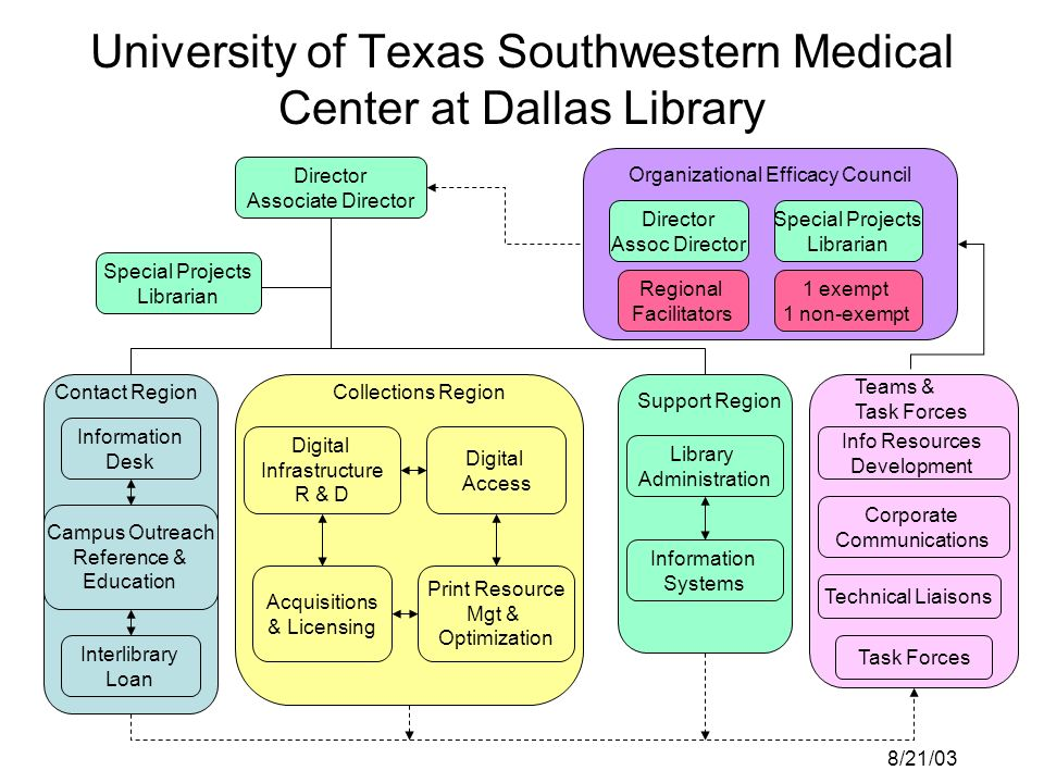 May 25, 2004UT Southwestern Medical Center Library Guiding Principles Create a clear goal for the project at the outset –Have the right people in the right number of jobs (allocated to the right tasks) to best support our current environment and the Librarys stated vision for the future.