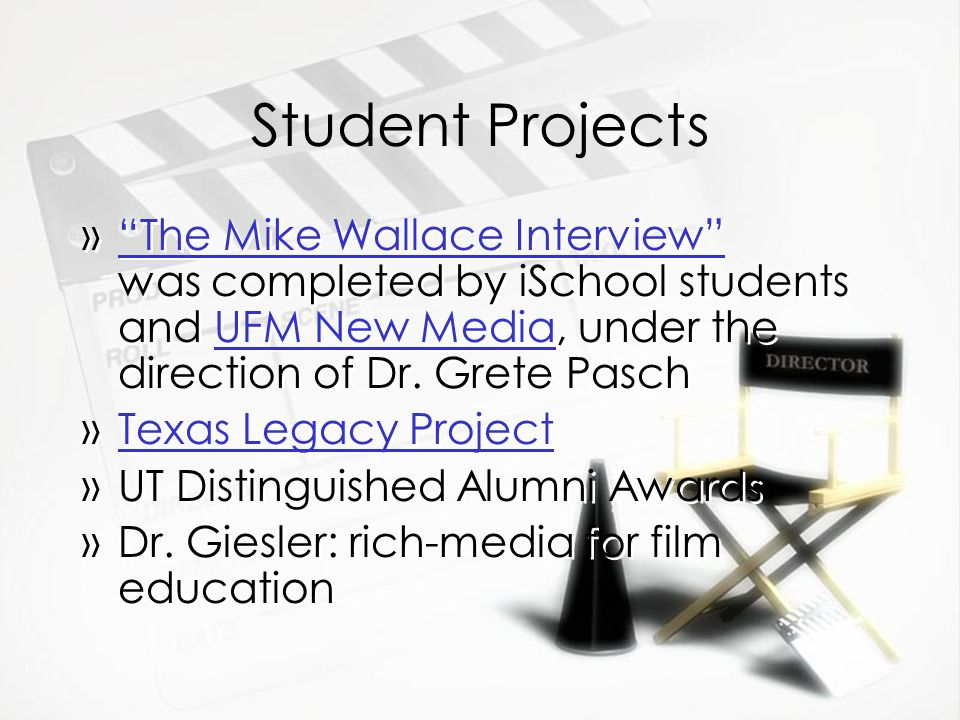 Student Projects »The Mike Wallace Interview was completed by iSchool students and UFM New Media, under the direction of Dr. Grete PaschThe Mike Walla