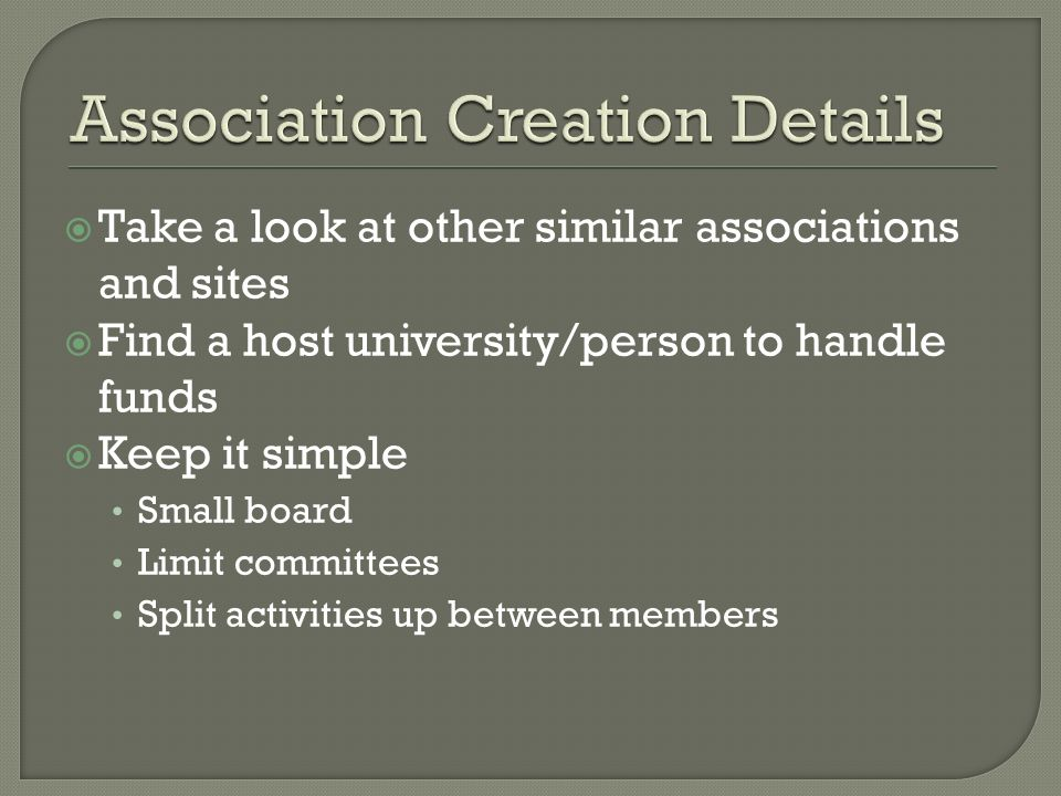 Take a look at other similar associations and sites Find a host university/person to handle funds Keep it simple Small board Limit committees Split ac