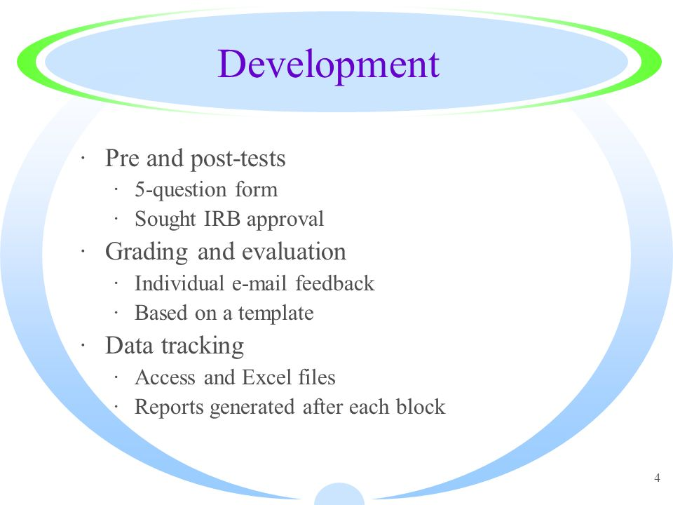 4 Development ·Pre and post-tests ·5-question form ·Sought IRB approval ·Grading and evaluation ·Individual e-mail feedback ·Based on a template ·Data