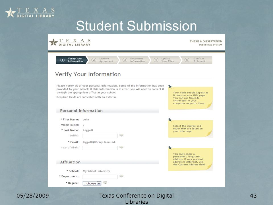 Student Submission 05/28/2009Texas Conference on Digital Libraries 43