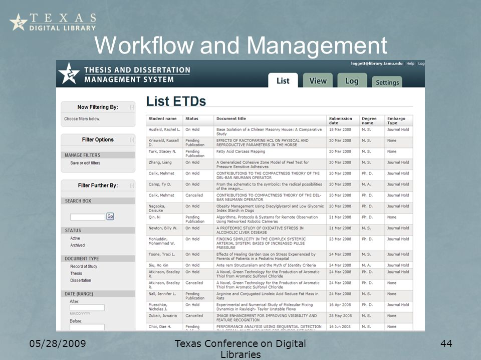 05/28/2009Texas Conference on Digital Libraries 44 Workflow and Management