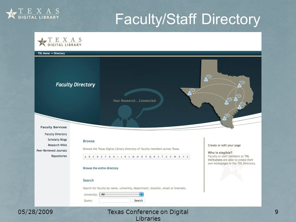 Faculty/Staff Directory 05/28/2009Texas Conference on Digital Libraries 9