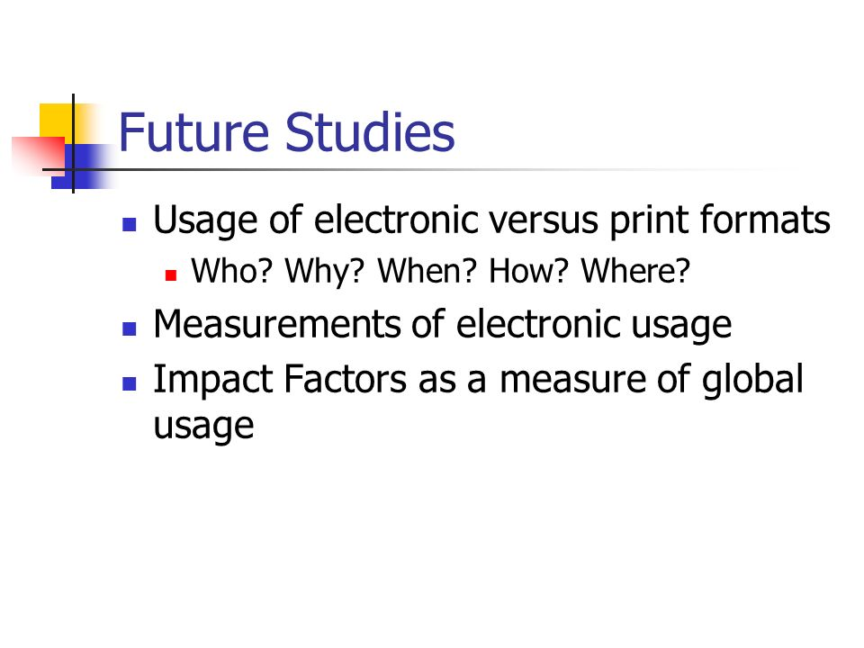 Future Studies Usage of electronic versus print formats Who.