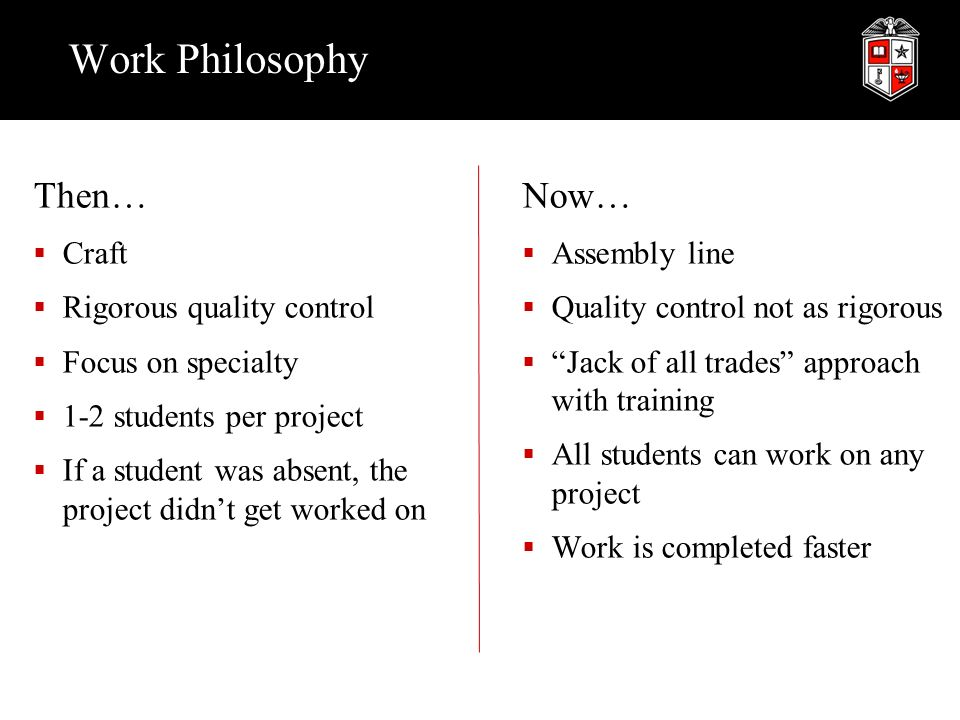 Work Philosophy Then… Craft Rigorous quality control Focus on specialty 1-2 students per project If a student was absent, the project didnt get worked on Now… Assembly line Quality control not as rigorous Jack of all trades approach with training All students can work on any project Work is completed faster