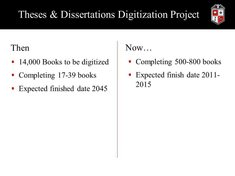 Theses & Dissertations Digitization Project Then 14,000 Books to be digitized Completing books Expected finished date 2045 Now… Completing books Expected finish date