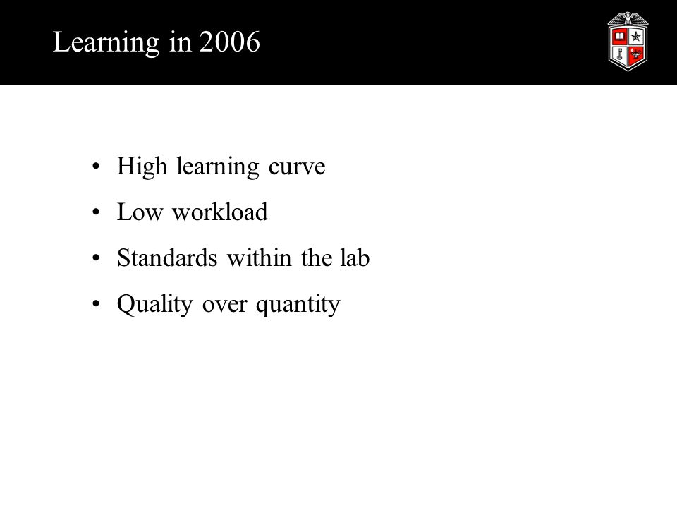 Learning in 2006 High learning curve Low workload Standards within the lab Quality over quantity