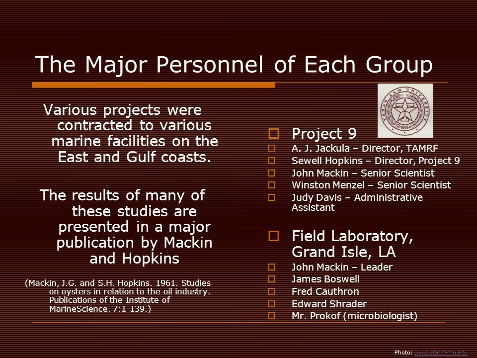 The Major Personnel of Each Group Project 9 A. J.