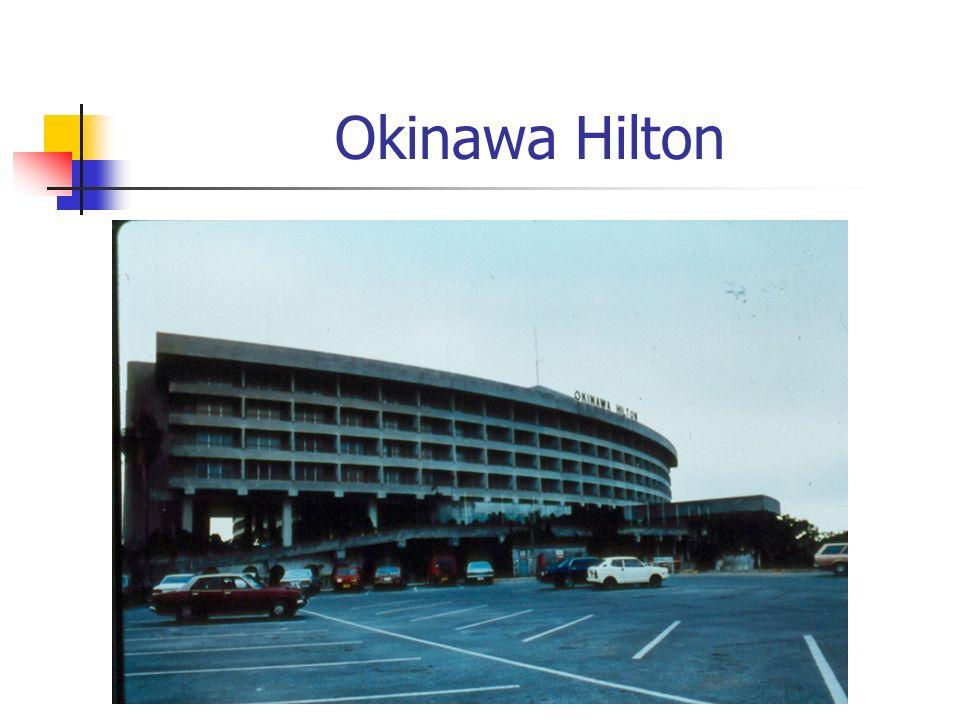 Tombs and storage tank at rear of Okinawa Hilton