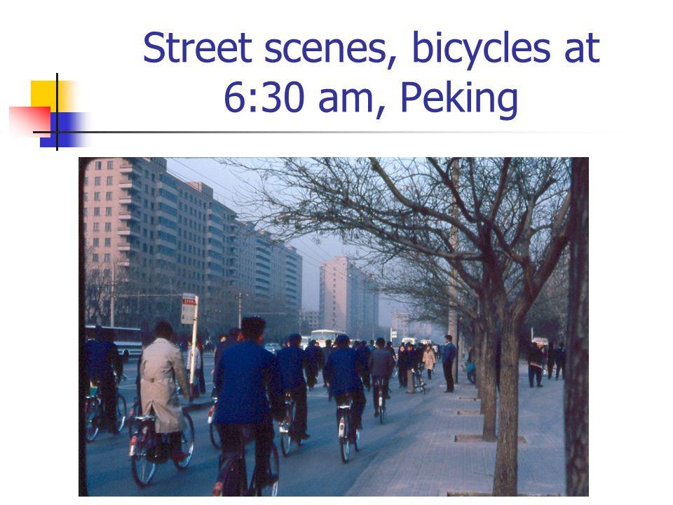 Street scenes, bicycles at 6:30 am, Peking