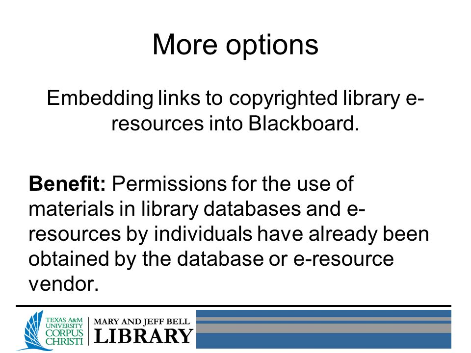 More options Embedding links to copyrighted library e- resources into Blackboard.