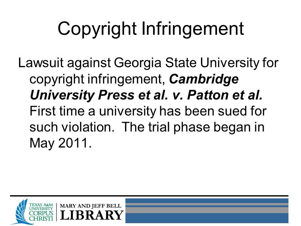 Copyright Infringement Lawsuit against Georgia State University for copyright infringement, Cambridge University Press et al.