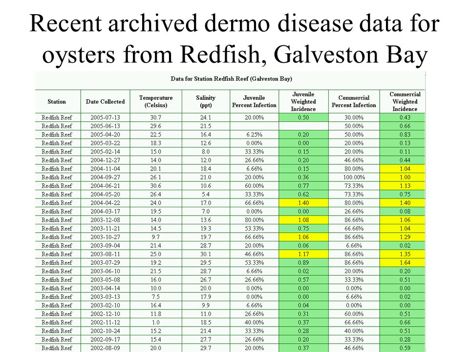 Recent archived dermo disease data for oysters from Redfish, Galveston Bay