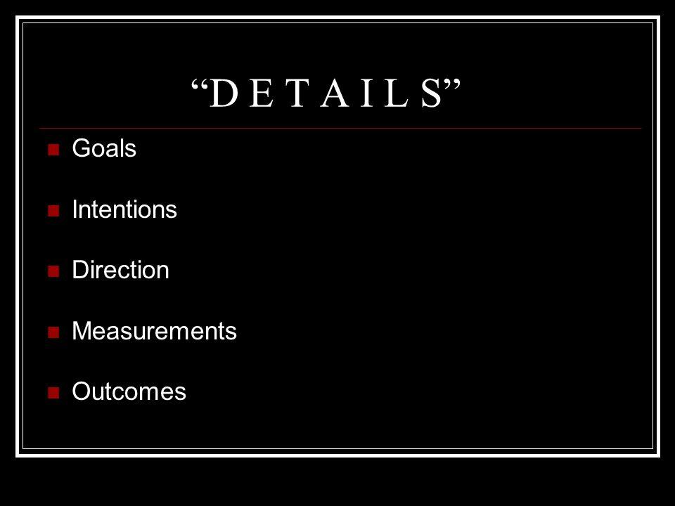 D E T A I L S Goals Intentions Direction Measurements Outcomes