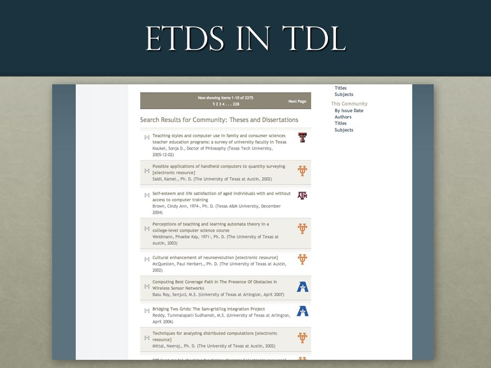 ETDS in TDL