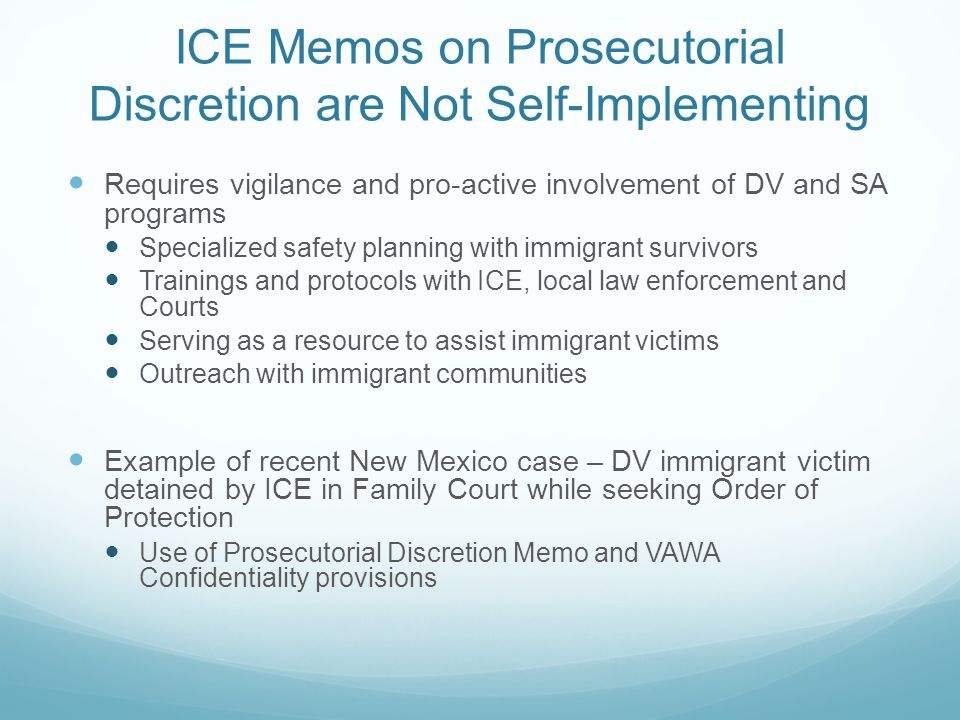 ICE Memos on Prosecutorial Discretion are Not Self-Implementing Requires vigilance and pro-active involvement of DV and SA programs Specialized safety
