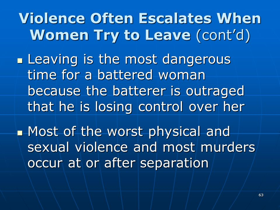 63 Violence Often Escalates When Women Try to Leave (contd) Leaving is the most dangerous time for a battered woman because the batterer is outraged t