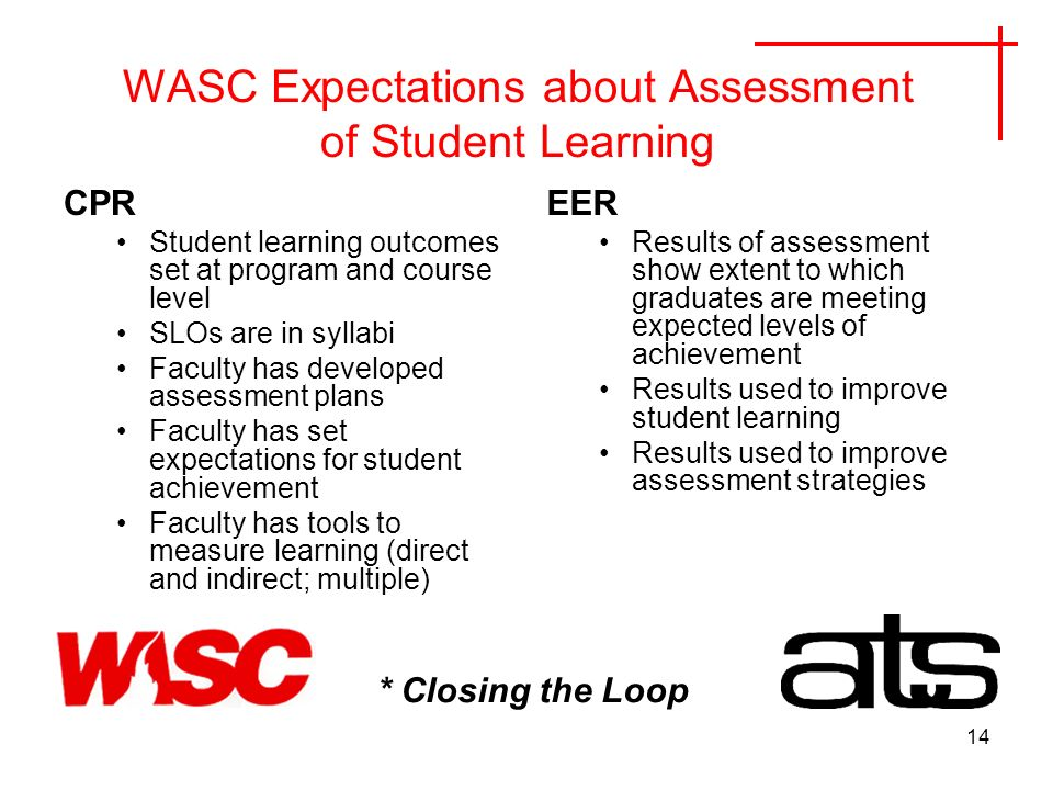 14 WASC Expectations about Assessment of Student Learning CPR Student learning outcomes set at program and course level SLOs are in syllabi Faculty has developed assessment plans Faculty has set expectations for student achievement Faculty has tools to measurelearning (direct and indirect; multiple) EER Results of assessment show extent to which graduates are meeting expected levels of achievement Results used to improve student learning Results used to improve assessment strategies * Closing the Loop