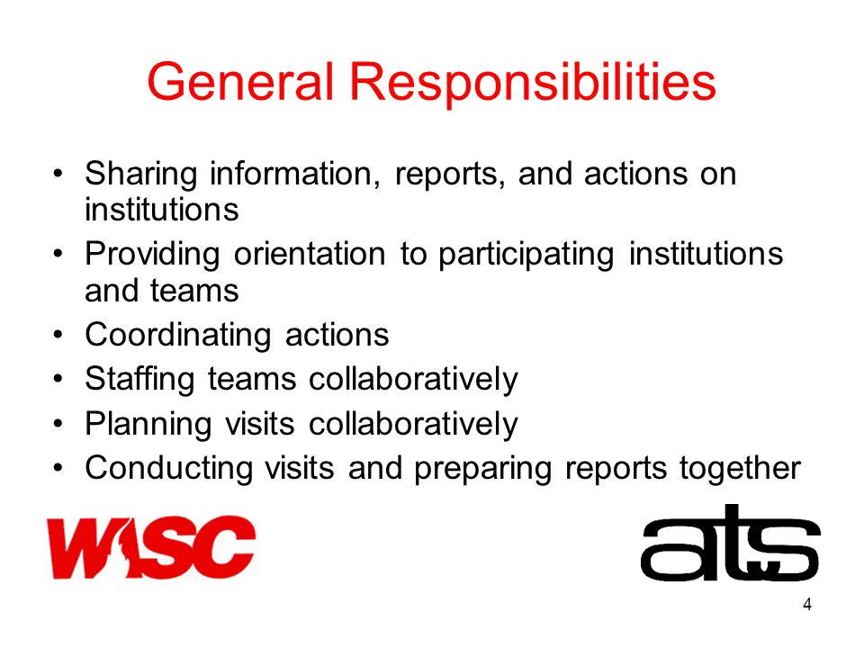 4 General Responsibilities Sharing information, reports, and actions on institutions Providing orientation to participating institutions and teams Coordinating actions Staffing teams collaboratively Planning visits collaboratively Conducting visits and preparing reports together