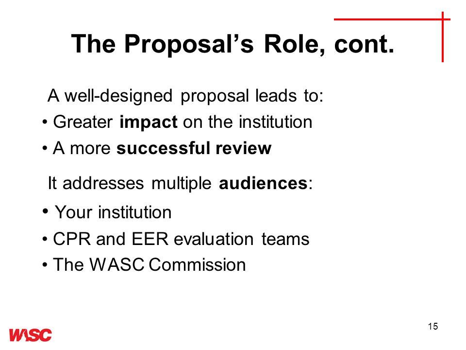 15 The Proposals Role, cont.