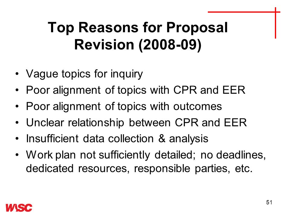 51 Top Reasons for Proposal Revision (2008-09) Vague topics for inquiry Poor alignment of topics with CPR and EER Poor alignment of topics with outcomes Unclear relationship between CPR and EER Insufficient data collection & analysis Work plan not sufficiently detailed; no deadlines, dedicated resources, responsible parties, etc.
