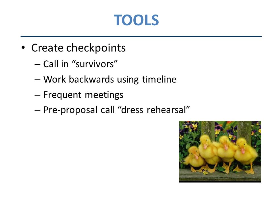 TOOLS Create checkpoints – Call in survivors – Work backwards using timeline – Frequent meetings – Pre-proposal call dress rehearsal