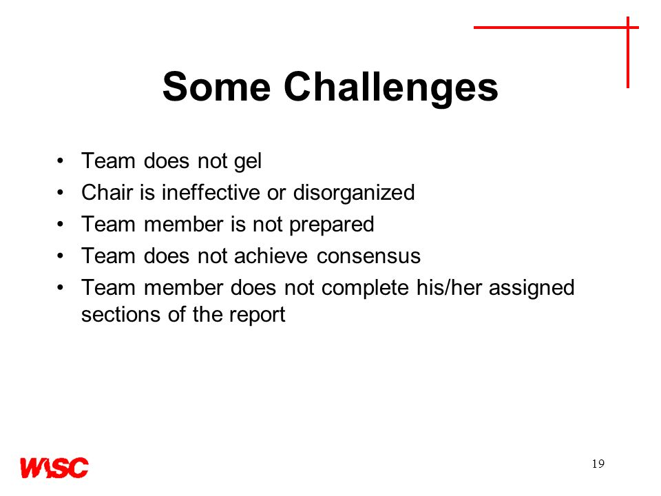19 Some Challenges Team does not gel Chair is ineffective or disorganized Team member is not prepared Team does not achieve consensus Team member does not complete his/her assigned sections of the report