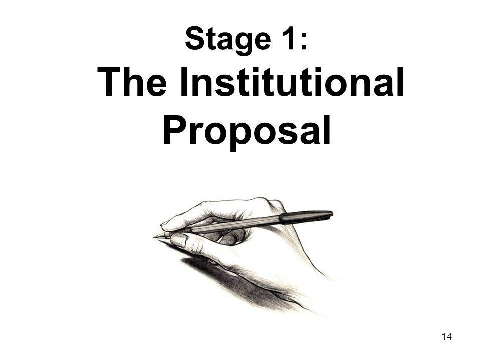 14 Stage 1: The Institutional Proposal