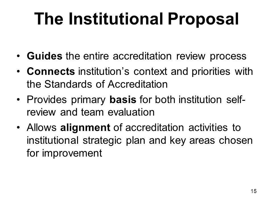 15 The Institutional Proposal Guides the entire accreditation review process Connects institutions context and priorities with the Standards of Accreditation Provides primary basis for both institution self- review and team evaluation Allows alignment of accreditation activities to institutional strategic plan and key areas chosen for improvement