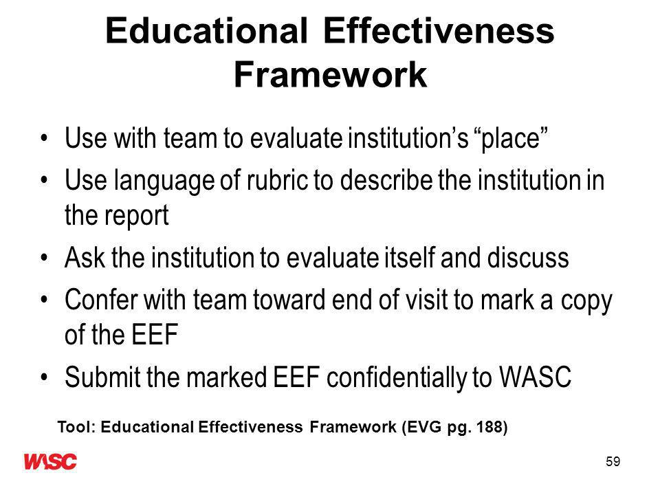59 Educational Effectiveness Framework Use with team to evaluate institutions place Use language of rubric to describe the institution in the report Ask the institution to evaluate itself and discuss Confer with team toward end of visit to mark a copy of the EEF Submit the marked EEF confidentially to WASC Tool: Educational Effectiveness Framework (EVG pg.