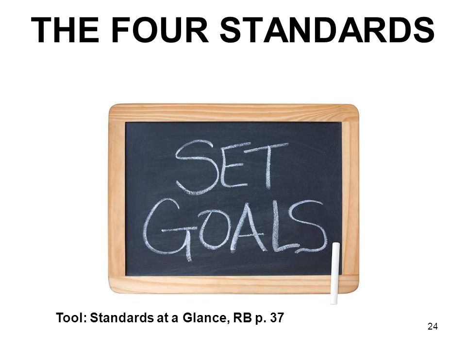 24 THE FOUR STANDARDS Tool: Standards at a Glance, RB p. 37
