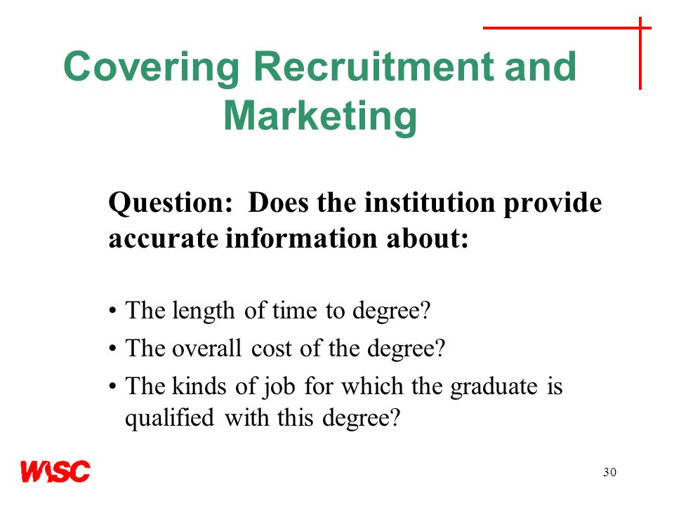 Covering Recruitment and Marketing Question: Does the institution provide accurate information about: The length of time to degree? The overall cost o