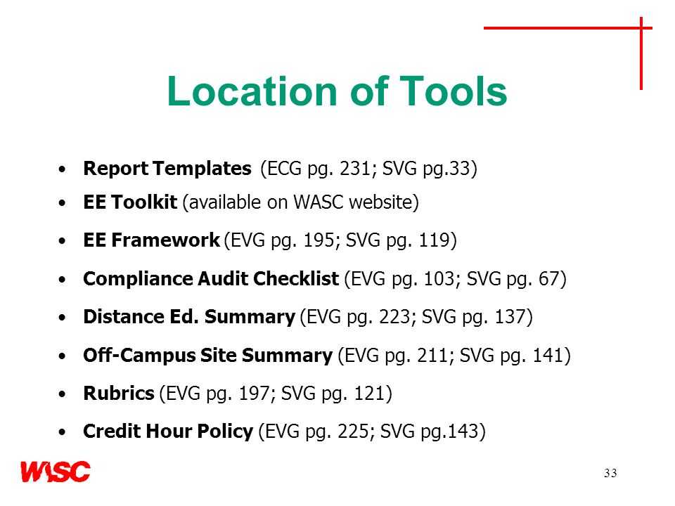 33 Location of Tools Report Templates (ECG pg. 231; SVG pg.33) EE Toolkit (available on WASC website) EE Framework (EVG pg. 195; SVG pg. 119) Complian