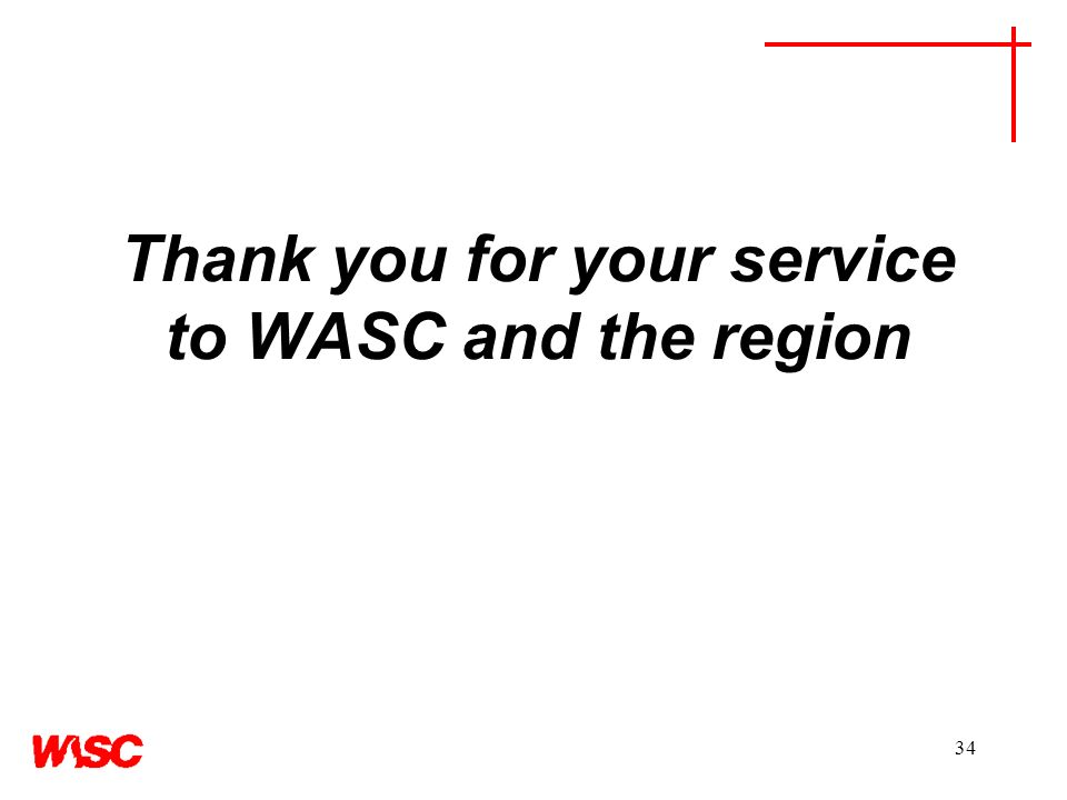 34 Thank you for your service to WASC and the region