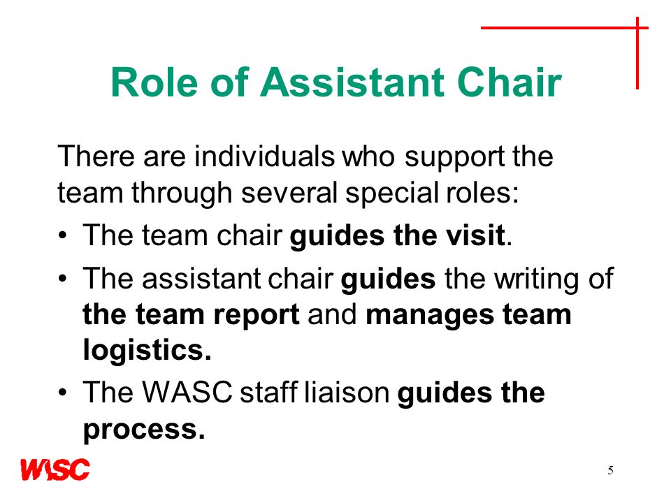 Role of Assistant Chair There are individuals who support the team through several special roles: The team chair guides the visit.