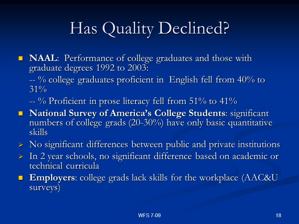 18WFS 7-09 Has Quality Declined? NAAL: Performance of college graduates and those with graduate degrees 1992 to 2003: NAAL: Performance of college gra