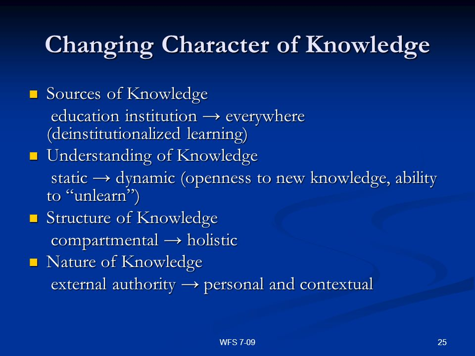 25WFS 7-09 Changing Character of Knowledge Sources of Knowledge Sources of Knowledge education institution everywhere (deinstitutionalized learning) e