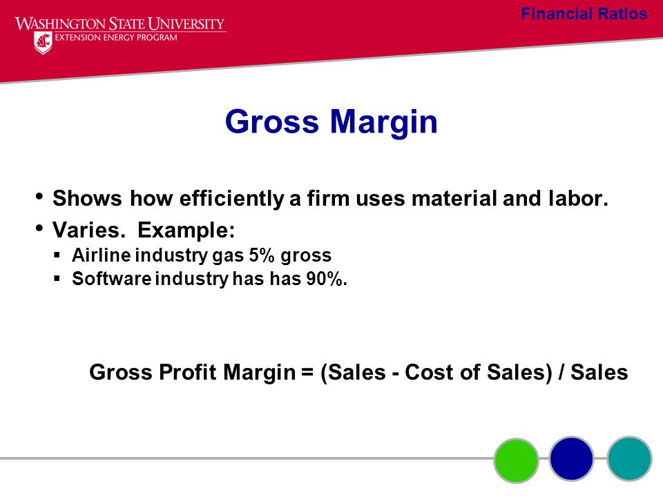 Gross Margin Shows how efficiently a firm uses material and labor. Varies. Example: Airline industry gas 5% gross Software industry has has 90%. Gross