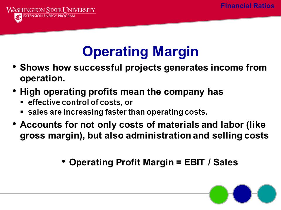Operating Margin Shows how successful projects generates income from operation. High operating profits mean the company has effective control of costs