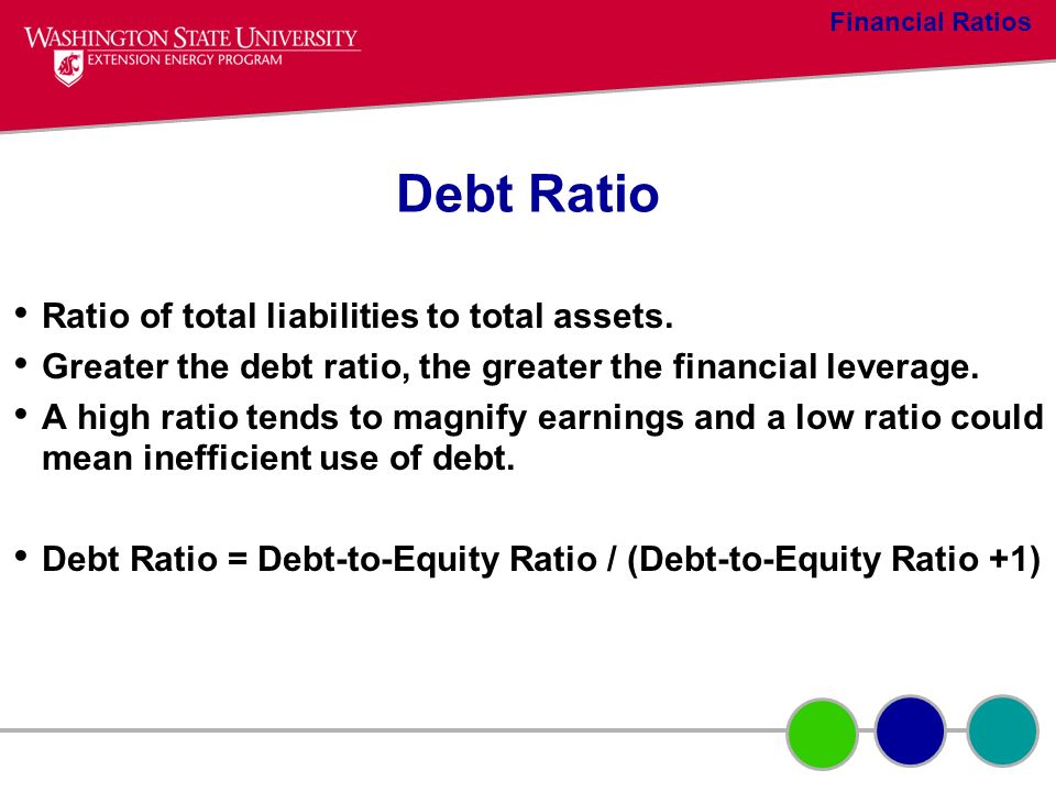 Debt Ratio Ratio of total liabilities to total assets. Greater the debt ratio, the greater the financial leverage. A high ratio tends to magnify earni