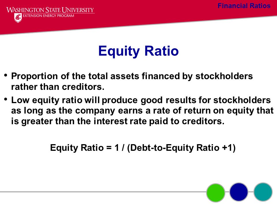 Equity Ratio Proportion of the total assets financed by stockholders rather than creditors. Low equity ratio will produce good results for stockholder